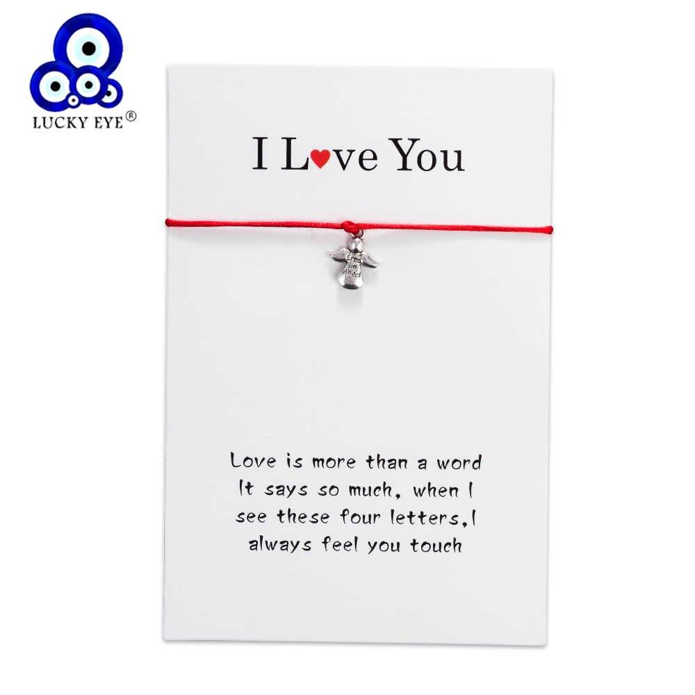Счастливый глаз, любовь, ангел, браслеты с подвесками для женщин, влюбленных, детей, счастливый красный, браслеты с нитками, карта желаний, ювелирное изделие, подарок EY5301
