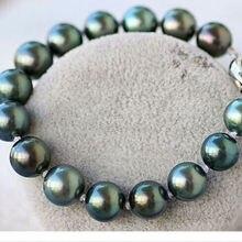 Потрясающие 11-12 мм южного моря круглый черный зеленый жемчуг bracelet7.5-8 дюймов серебро
