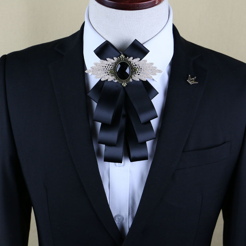 New Free Shipping fashion casual Mens male multilayer diamond collar bow tie wedding groom Groomsmen original design ON sale