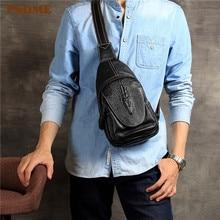 PNDME vintage crocodile pattern mens chest bag outdoor handmade designer soft genuine leather cross rig phone bags