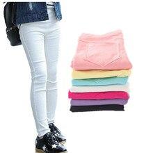 Детские штаны для девочек, весенне-Осенние эластичные узкие брюки ярких цветов, Детские однотонные леггинсы для От 2 до 11 лет, одежда для детей