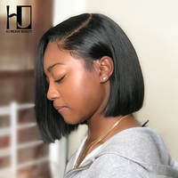 4x4 Lace Closure Wigs Brazilian Straight Short Bob Human Hair Wigs For Black Women 130 Density Remy Preplucked with Baby Hair