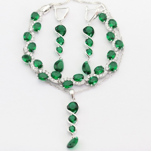 Long Green Imitated Emerald Silver Color Jewelry Sets For Women Necklace Pendant Drop Earrings Bracelet Christmas Gifts