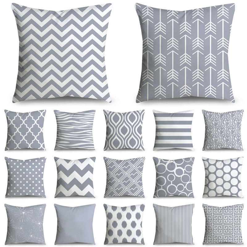 45*45cm Gray Striped Geometric Cushion Cover Polyester Pillowcase Cojines Decorativos Para Sofa Home Bedroom Sofa Decor 40814