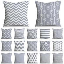 45x45 cm funda de cojín geométrica a rayas grises funda de almohada de poliéster Cojines Decorativos Para sofá hogar Decoración sofá dormitorio 40814
