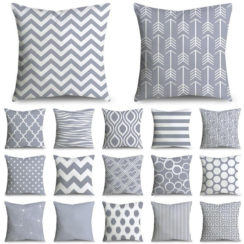 45*45cm gris rayas geométricas funda de cojín de poliéster fundas decorativas Para sofá Decoración sofá dormitorio 40814