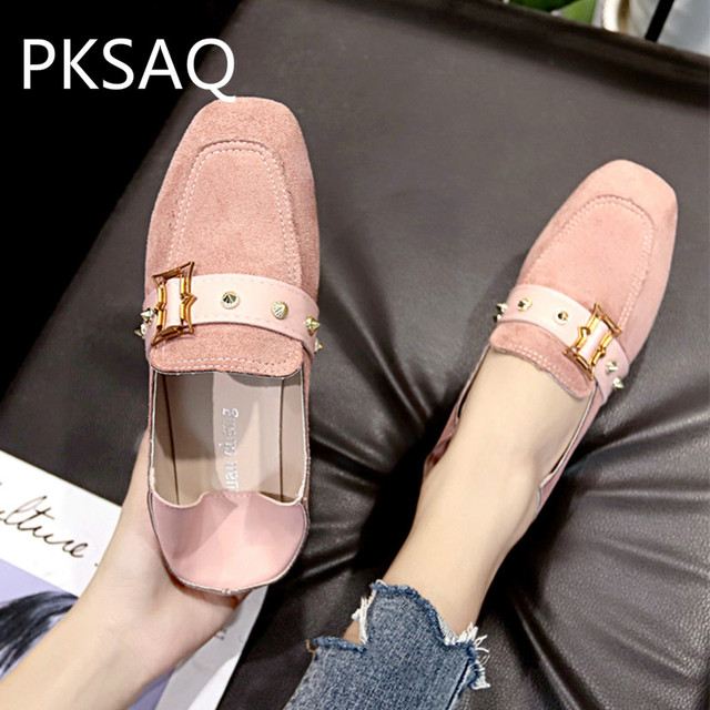 Flat Sneakers Shoes Square Toe Sweet Style Ladies Casual Candy Color Shoes Student Shoes