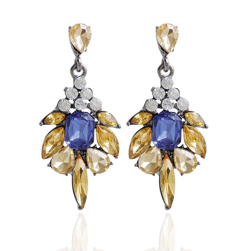F & U Farklı Renkler ile Reçine Kristal Dangle Küpe Altın Renk - Kostüm mücevherat - Fotoğraf 4