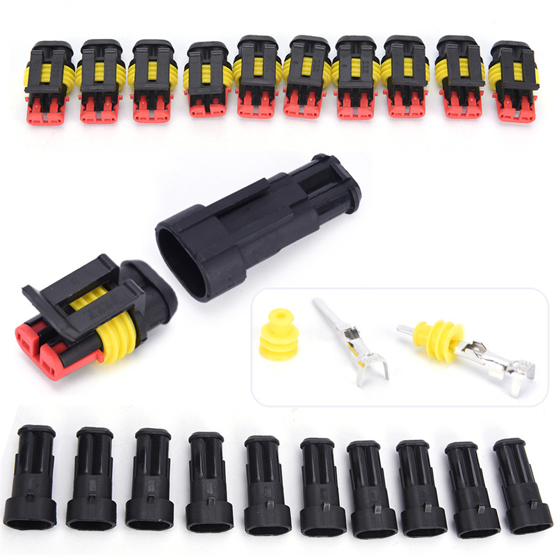 10 Kits/lot 2 Pin Way Sealed Waterproof Electrical Wire Connector Plug Car Auto Sets