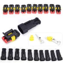 цена на 10 Kits/lot 2 Pin Way Sealed Waterproof Electrical Wire Connector Plug Car Auto Sets