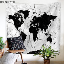 World map wall tapestry promotion shop for promotional world map world map wall tapestry blue printed hanging carpet home decor wall tapestry polyester sheet yoga outdoor gumiabroncs Choice Image