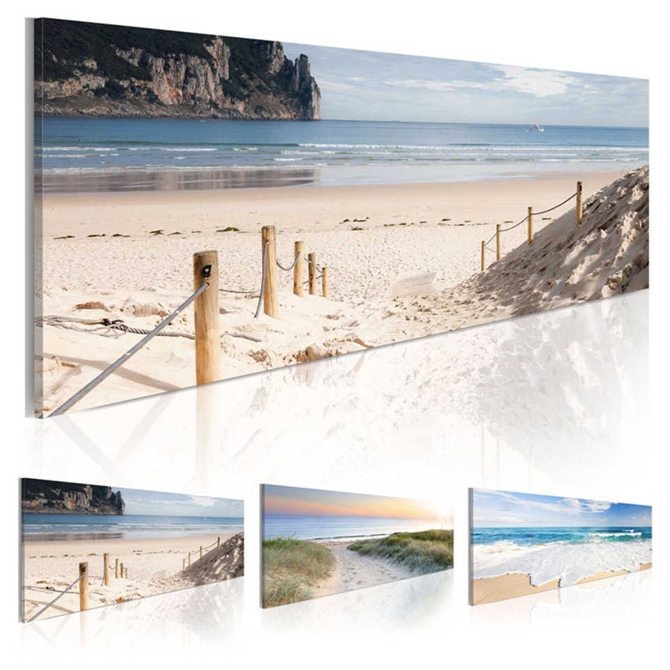 Wall Art HD Prints Modern Poster 1 Set Beach Sand And Sea View Canvas Painting Bedside Background Home Decor Modular Picture