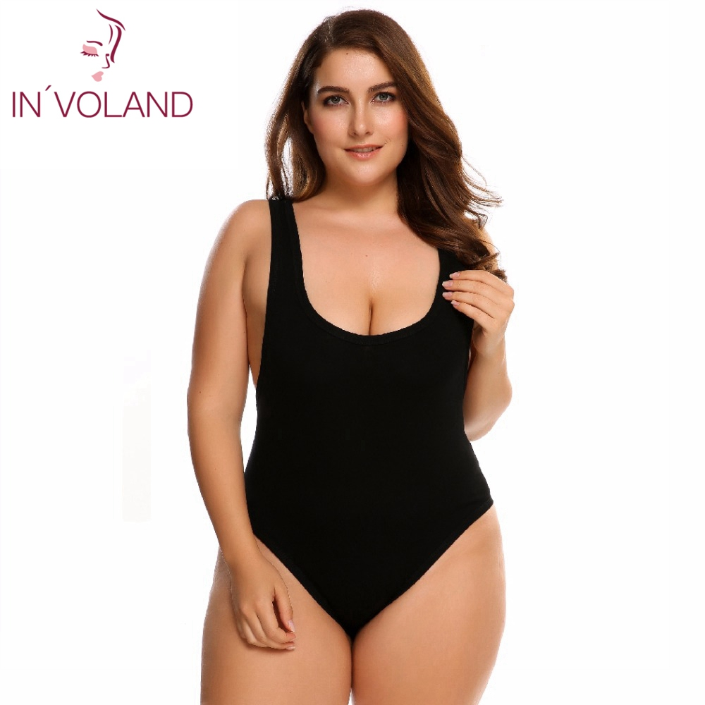 IN'VOLAND Women's Bodysuit Plus Size Overalls Large Scoop Neck Slim Fit Sexy One Piece Barboteuse Lady Jumpsuit Big Size 5XL