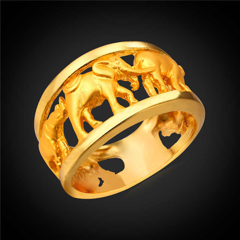 Kpop African Elephant Rings For Women Party Gold Color Lucky Rings For Women With Gift Box 2016 Trendy Charms Rings R1930