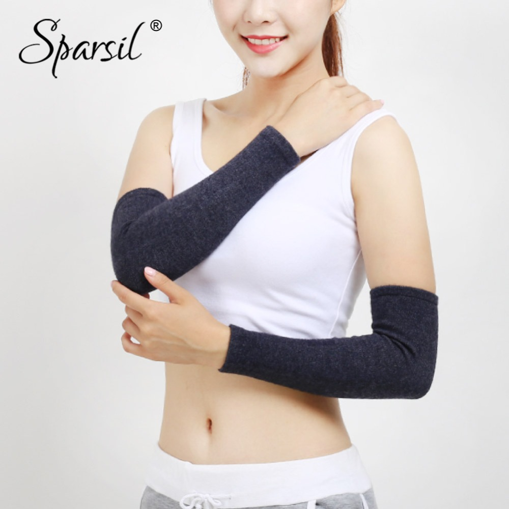 Sparsil Unisex Woolen Knitted Arm Warmers Elastic Warm Gloves Autumn Winter 40cm Thick Wrist Elbow Joint Protector Long Sleeve