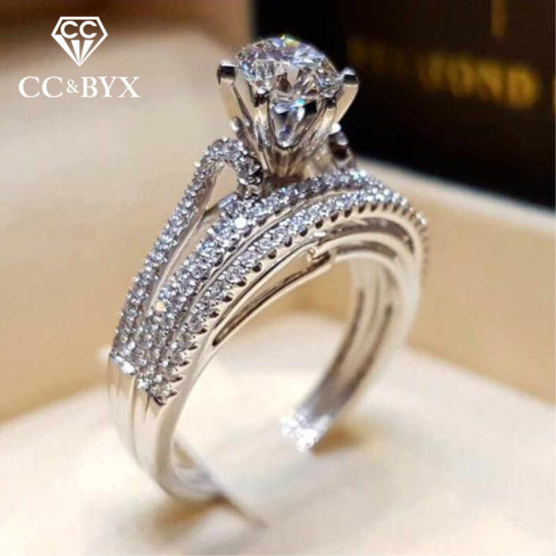 CC Rings For Women Round Cubic Zirconia Stone Classic Set Ring Bridal Wedding Engagement Jewelry Drop Shipping Accessory CC2159