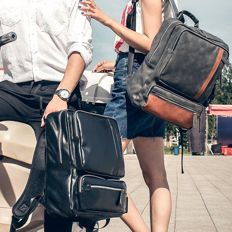 Men's Backpack Female 2019 PU Leather Vintage Men Black Backpack School Bag For Laptop 14 Inch Business Casual Bagpack Back Pack