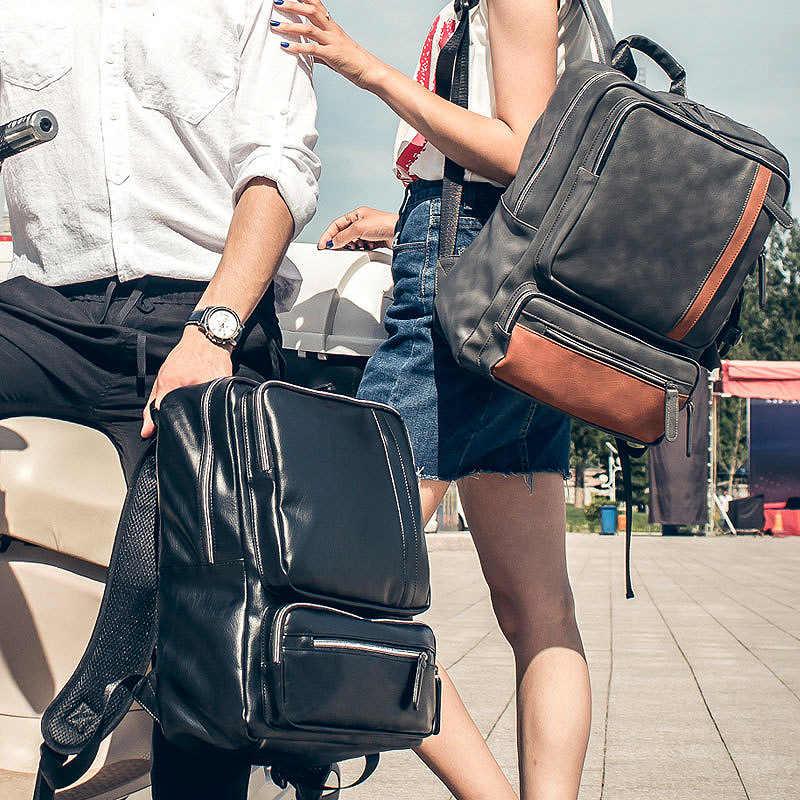 Zaino Femminile 2019 di Cuoio DELL'UNITÀ di elaborazione degli uomini Vintage Uomo Nero Sacchetto di Scuola Dello Zaino per il Computer Portatile 14 Pollici di Affari Casual Bagpack back Pack