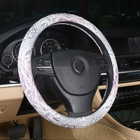 LUNASBORE Car Steering Wheel Cover cute Women Girls lady microfiber Leather cool cap case 38cm For Honda/Ford Focus 2 3/hyundai
