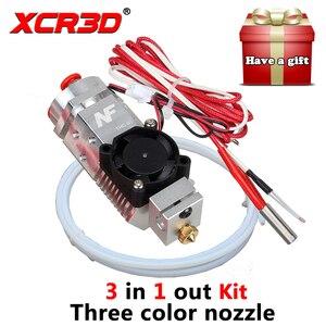 Imprimante 3D pièces extrudeuse 3 en 1 Hotend Fusion multi-couleur buse 1.75mm NF THC-01 trois couleurs commutation métal 12 V/24 V chauffage