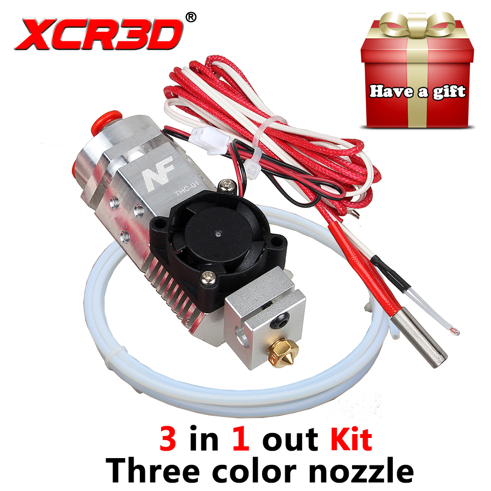 XCR3D 3D Printer Nozzle Parts 3 in 1 out Multi-color Hot end Kit 1.75mm NF THC-01 Three Colors Switching Metal 12V/24V Heater hot 3d printer parts reprap 3 in 1 out multi color three colors switching hotend kit titan bulldog bowden extruder hot end