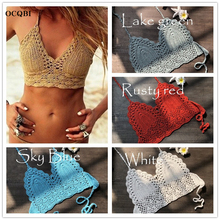OCQBI 2019 crochet swimwear Red Bikini Top Knit Sexy Bikinis Women Swimming Bra Large Female Swimwear Mujer Swimsuit