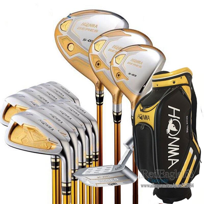 Nueva compelete club conjunto honma S-03 4 estrella Golf clubes conductor 3/5 Fairway Wood + plancha + bolso + putter grafito Golf eje envío gratis
