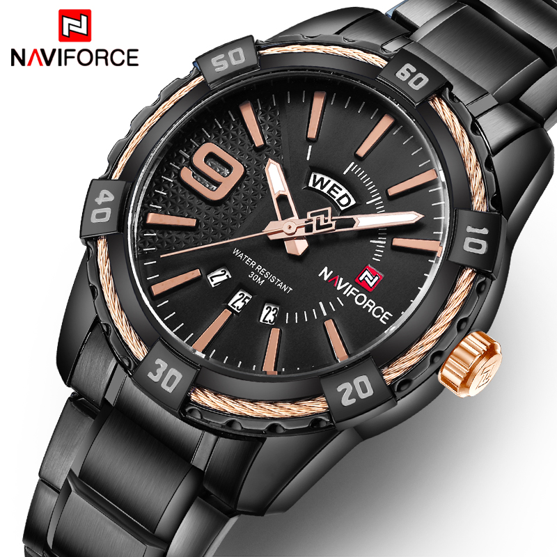 NAVIFORCE Men Sport Watches Men's Quartz 30M Waterproof Clock Man Stainless Steel Auto Date Military Wristwatches Luxury Brand men sport watch naviforce luxury brand men military quartz watches fashion casual leather strap auto date 30m waterproof watches