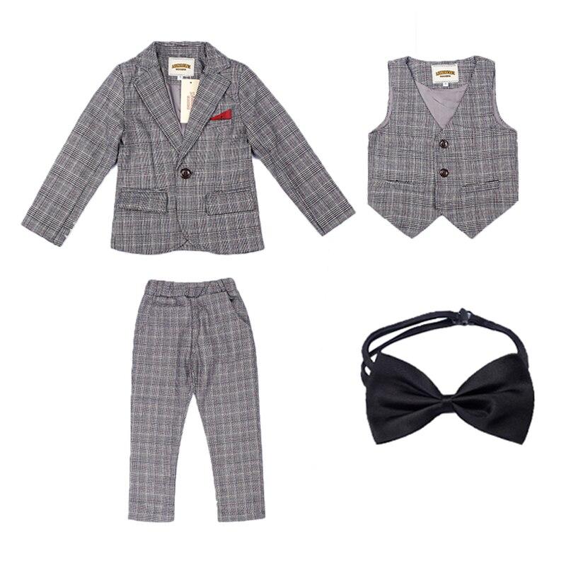 2019 garçons Blazers costume enfants veste + gilet + cravate + pantalon 4 pièces/ensemble enfants coton simple boutonnage vêtements grands garçons Blazers ensemble EB200