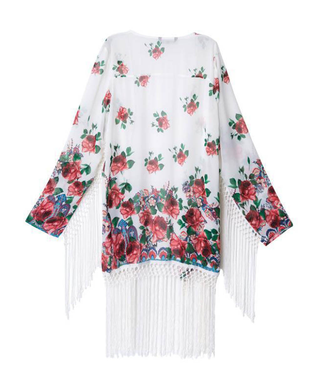 Hot Sale 2017 Fashion Ladies Women Floral Print Tassel Chiffon ...
