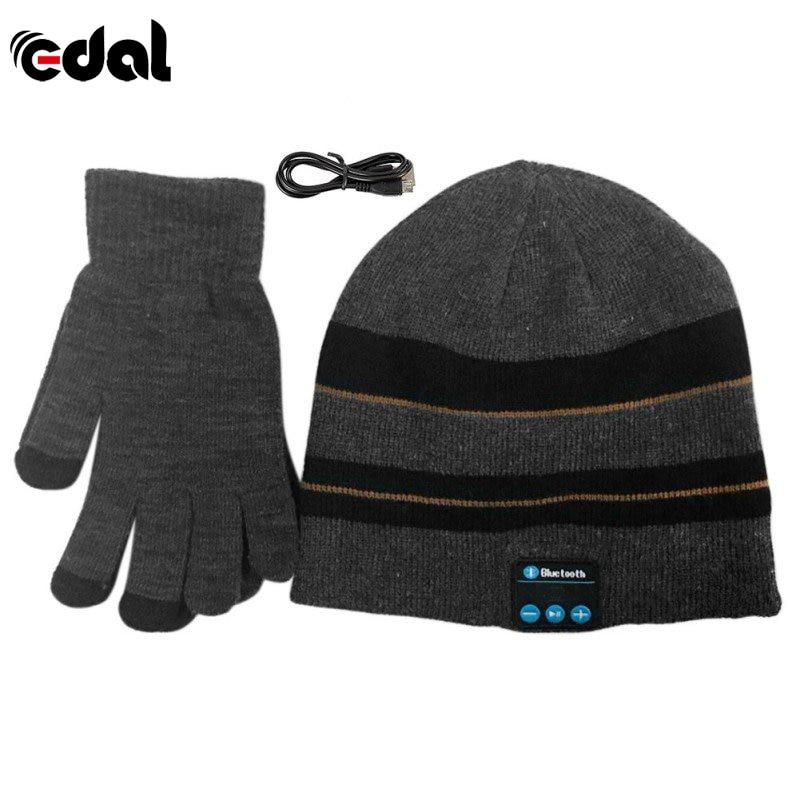 Beanie Hat Warm Winter Wireless Bluetooth Smart Cap Headset Headphone Speaker Mic Bluetooth Hat With Gloves