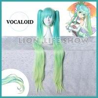 120cm VOCALOID Hatsune Miku Car Racing Cosplay Green Gradient 2 Ponytails Hair Wig Cap Anime Full