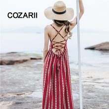 COZARII 2018 Red Floral Print Sexy Lace Up O- Neck Women Maxi Dresses Summer Split Backless Beach Long Vestidos Boho Dress