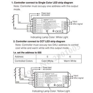 Image 4 - MiBOXER DL5 DALI 5 ב 1 LED רצועת בקר, DC 12 ~ 24V אנודה משותף חיבור, תואם שלט רחוק/DALI אוטובוס כוח Supplly