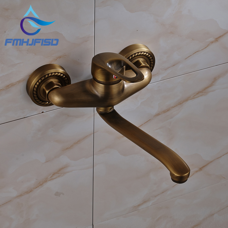 fmhjfisd New Antique Brass Bathroom Tub Faucet Wall Mounted Mixer Tap with Long Tub Spout new anti slip bathtub handrail bathroom tub safety grab bar black antique brass carved pattern base safety handles wall mounted