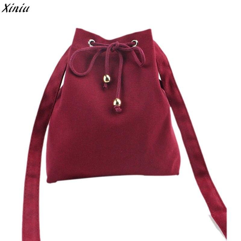 Canvas Drawstring Bucket Bag Shoulder Handbags Messenger Bags Multi Purposes Tote Crossbody Bag Bolsa