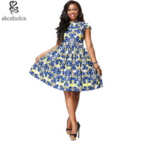 Shenbolen Summer African Dresses For Women Printing Tradition Dashiki Dress Short Sleeve Casual Indian Clothing Lady