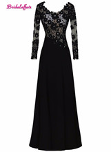 KapokBanyan Real Photo Black Lace Scoop Neck Prom Dresses 2017 Cheap Long Sleeve Appliques Party Gown New Vestido de festa