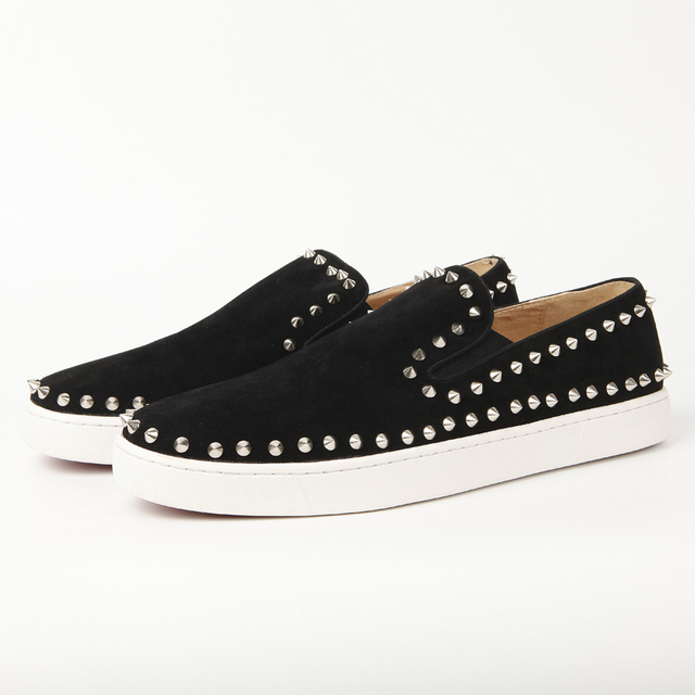 super popular 6d0c0 922d1 US $71.0 |black suede red bottom pik boat shoes for men women spikes boat  shoes Low top Flats Genuine Leather-in Women's Flats from Shoes on ...