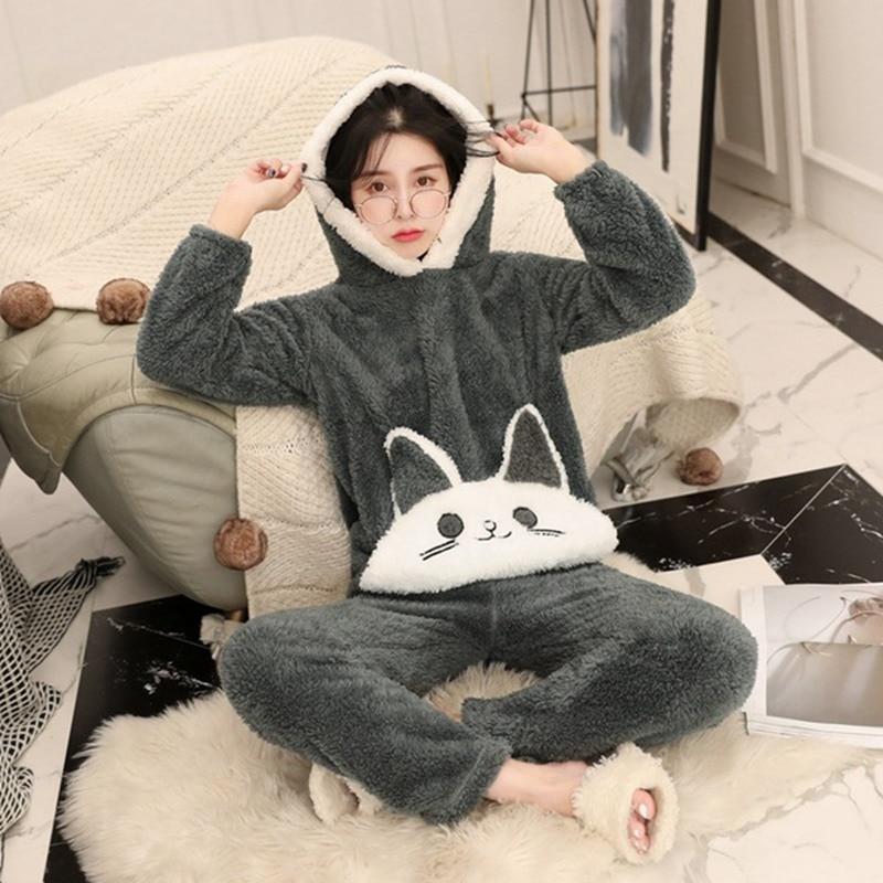 JULY'S SONG Woman Flannel Pajamas Winter Pajama Sets Pink Cute Cartoon Animal Pajamas Thick Sleepwear Woman Casual Homewear