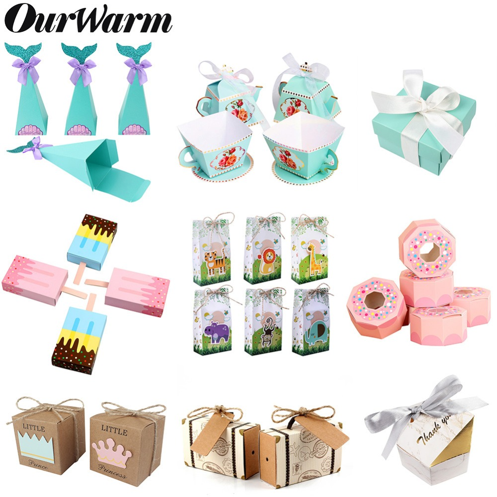 OurWarm Paper Gift Box Packaging Baby Shower Candy Box Wedding Favors And Gifts For Guest Boy Girl Birthday Party Decorations