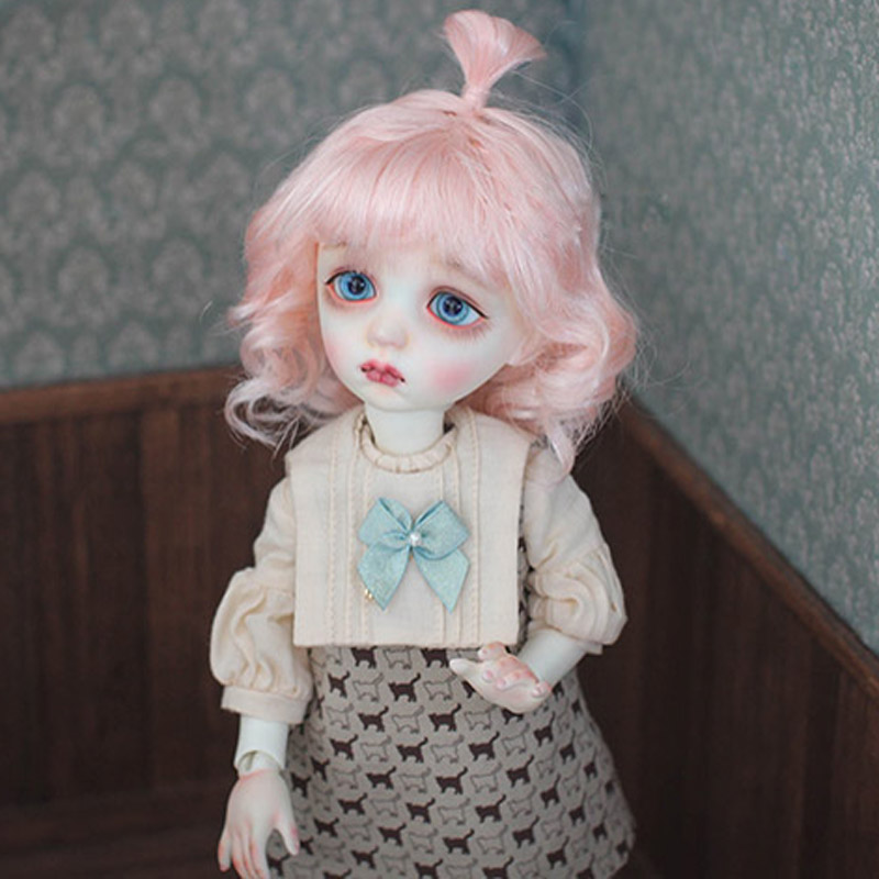 1/6 BJD Wig Super Doll Wig Hair Fashion Short Pink Curly Mohair For BJD Doll Wig Free Shipping new 1 3 bjd wig gray mixed pink short shtaight hair doll diy for1 3 1 4 1 6 1 8 1 12 bjd sd dollfie