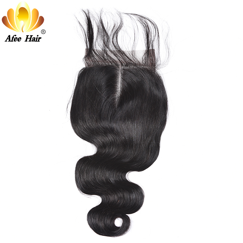 AliAfee Hair Lace Closure Brazilian Body Wave Remy Human Hair 4*4 Swiss Lace With 130% Density with Baby Hair Closure 8''-20''