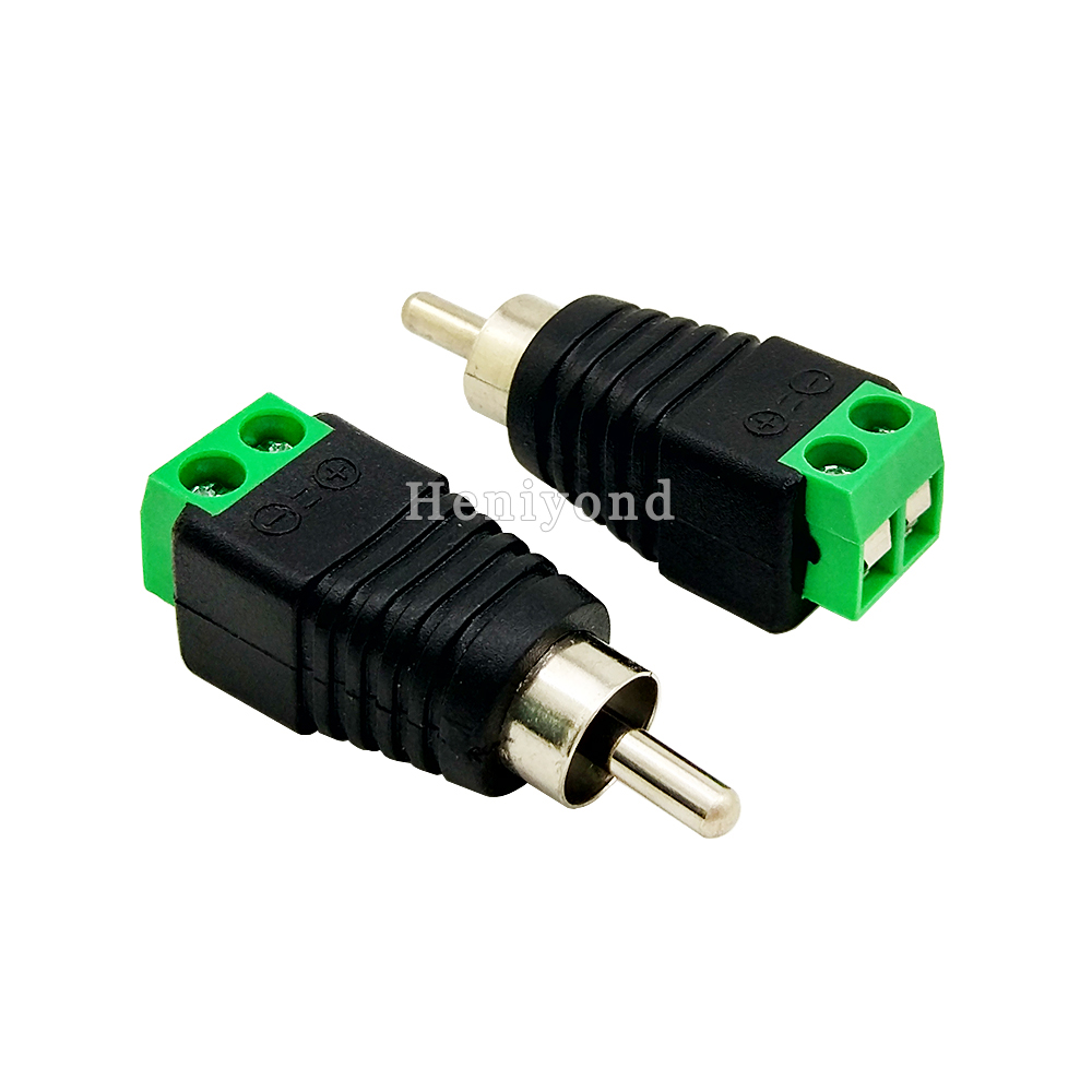 10pcs RCA Jack Male Plug To Coax Cable Connector Adapter F/M Coupler For CCTV Camera