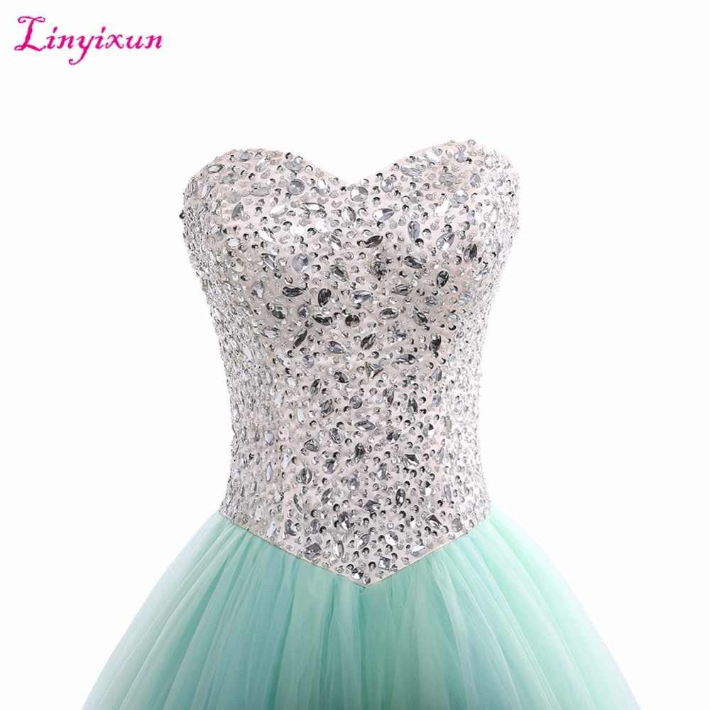 Linyixun Foto Real Barato Verde da Hortelã Vestidos Quinceanera Vestidos de Baile 2017 Doce 16 vestido de Baile de Cristal vestidos de 15 años vestidos