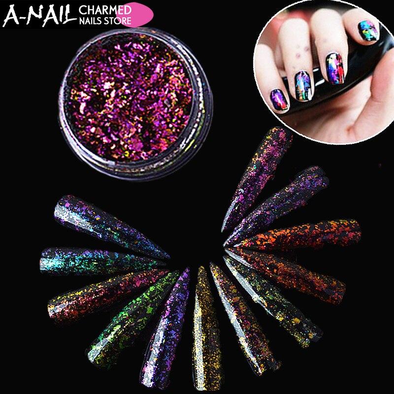 Nagelglitzer Nails Art & Werkzeuge Newby 0,2g/jar 17 Cololrs Unregelmäßigen Chamäleon Glitter Pulver Magische Wirkung Pailletten Uv Nagelgelpoliermittel Nagel Nagelkunstdekorationen