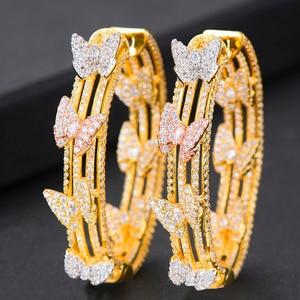 Image 3 - GODKI Luxury Butterfly Cubic Zircon Statement Big Hoop Earrings For Women Wedding DUBAI Bridal Round Circle Hoop Earrings 2019