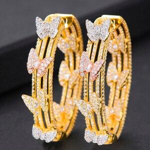 Image 3 - Женские серьги кольца GODKI, свадебные круглые серьги с бабочкой и кубическим цирконием, 2019