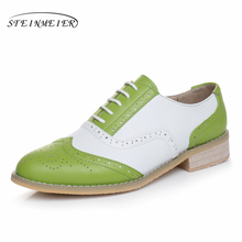Genuine leather shoes women US size 11 handmade red blue white 2018 sping vintage flats British style oxford shoes for women fur
