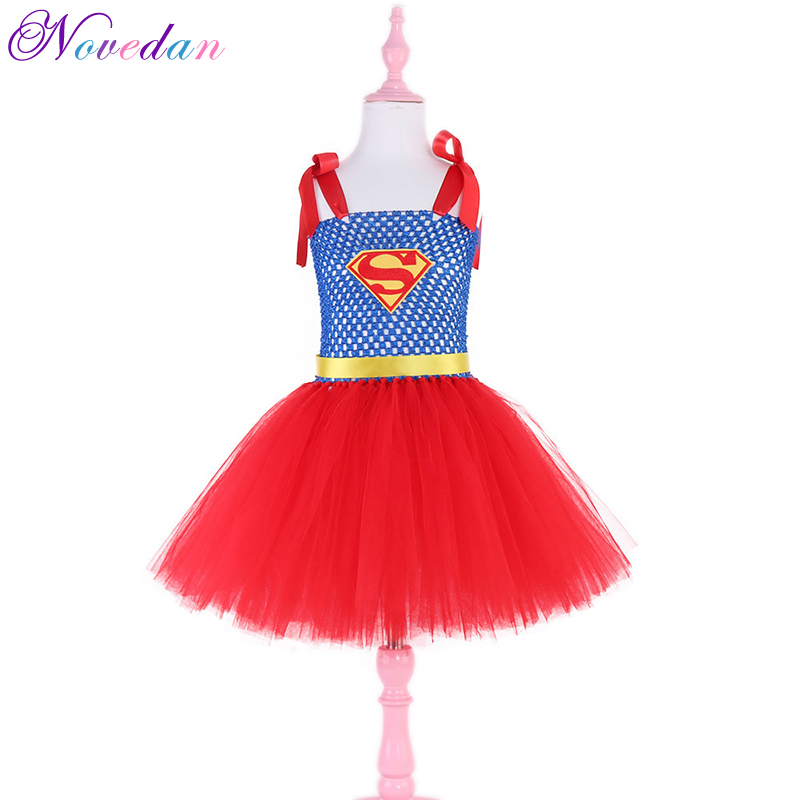Girls Supergirls Superman Dresses Cosplay Costume Carnival Purim Hallo Tutu Moana Fancy Dress Superhero Costume for Kids Child